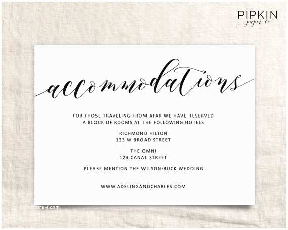 Wedding Invitations Hotel Accommodation Cards Wedding Ac Modations Template Printable Ac Modations