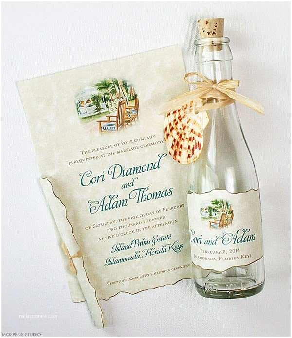 Wedding Invitations In A Bottle Beach Wedding Invitations Tropical Gazebo Glass Bottles
