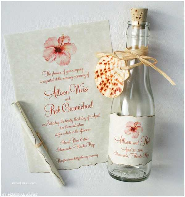 Wedding Invitations In A Bottle Beach Wedding Invivations S