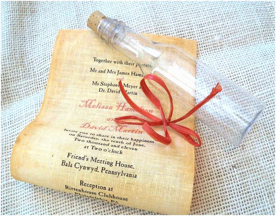 Wedding Invitations In A Bottle Message In A Bottle Wedding Invitation Beach Wedding