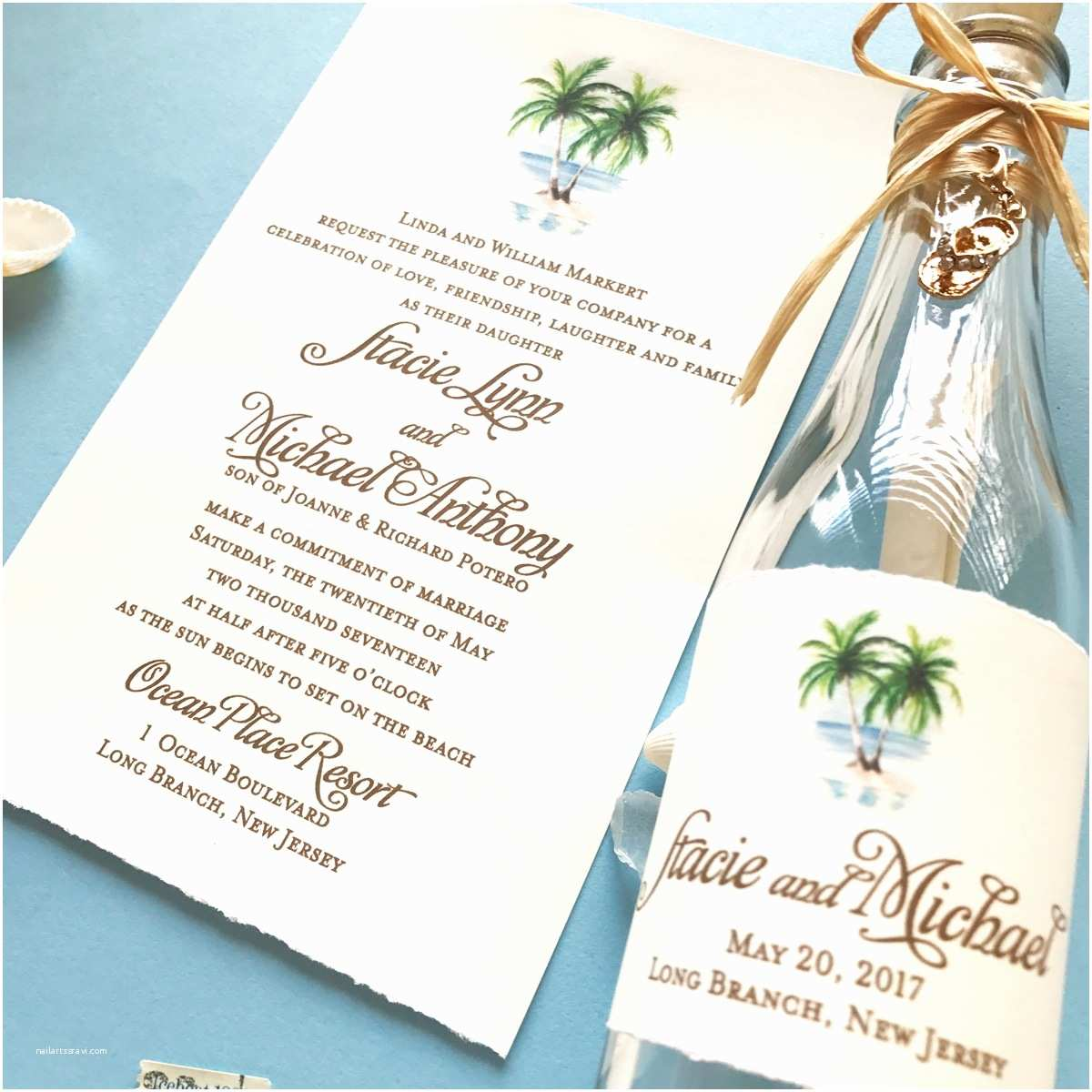 Wedding Invitations In A Bottle Stacie Beach Wedding Invitation In A Bottle