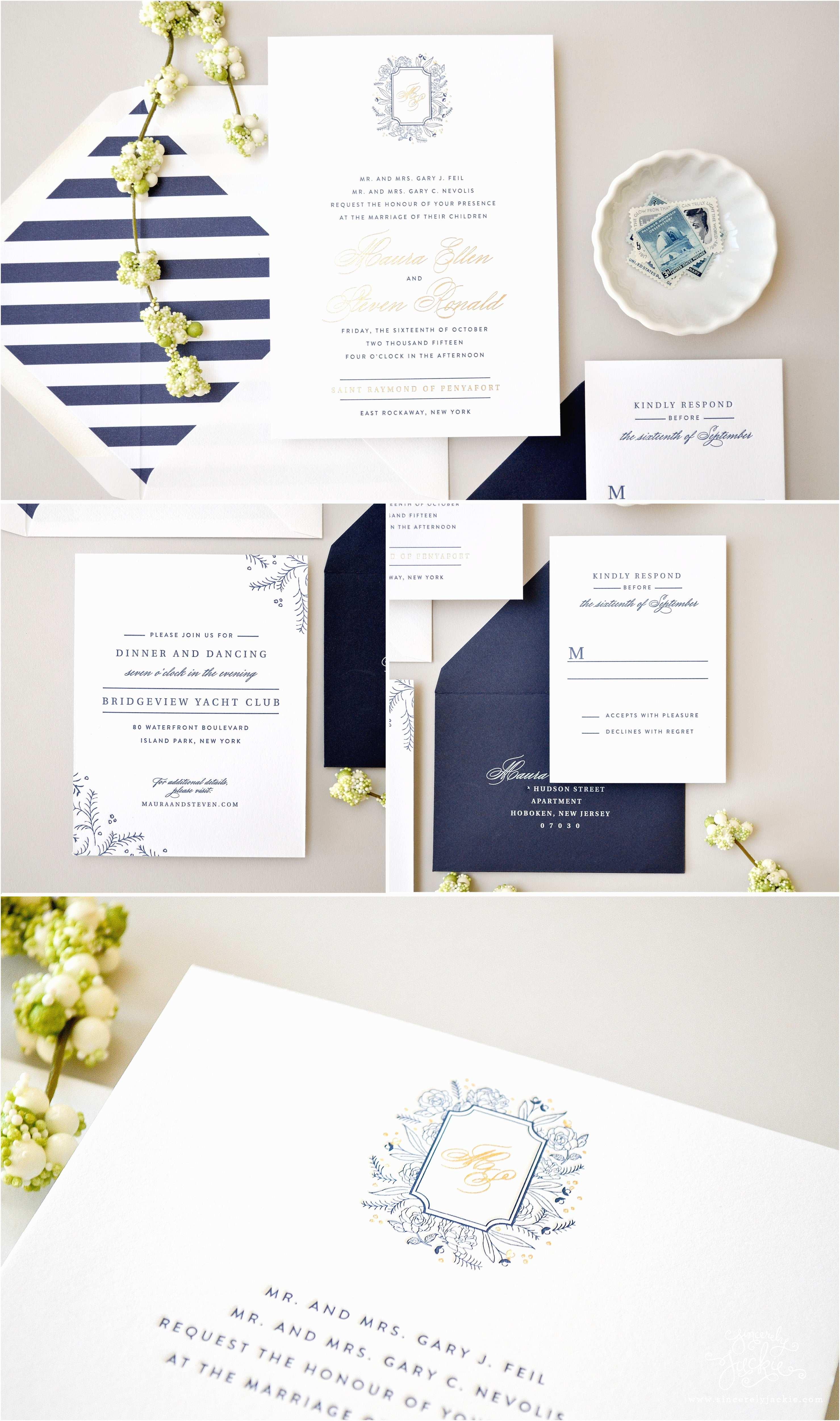 Wedding Invitations In Long island Heirloom Highlight Mauras Custom Floral Monogram Navy and