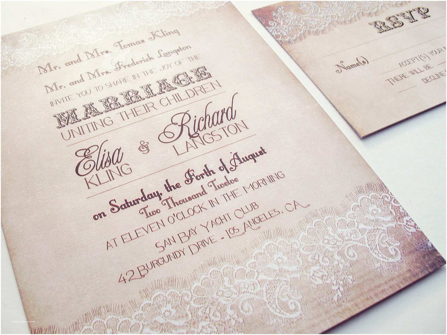 Wedding Invitations Lace Country Wedding Invitation Country Lace Wedding Invitation