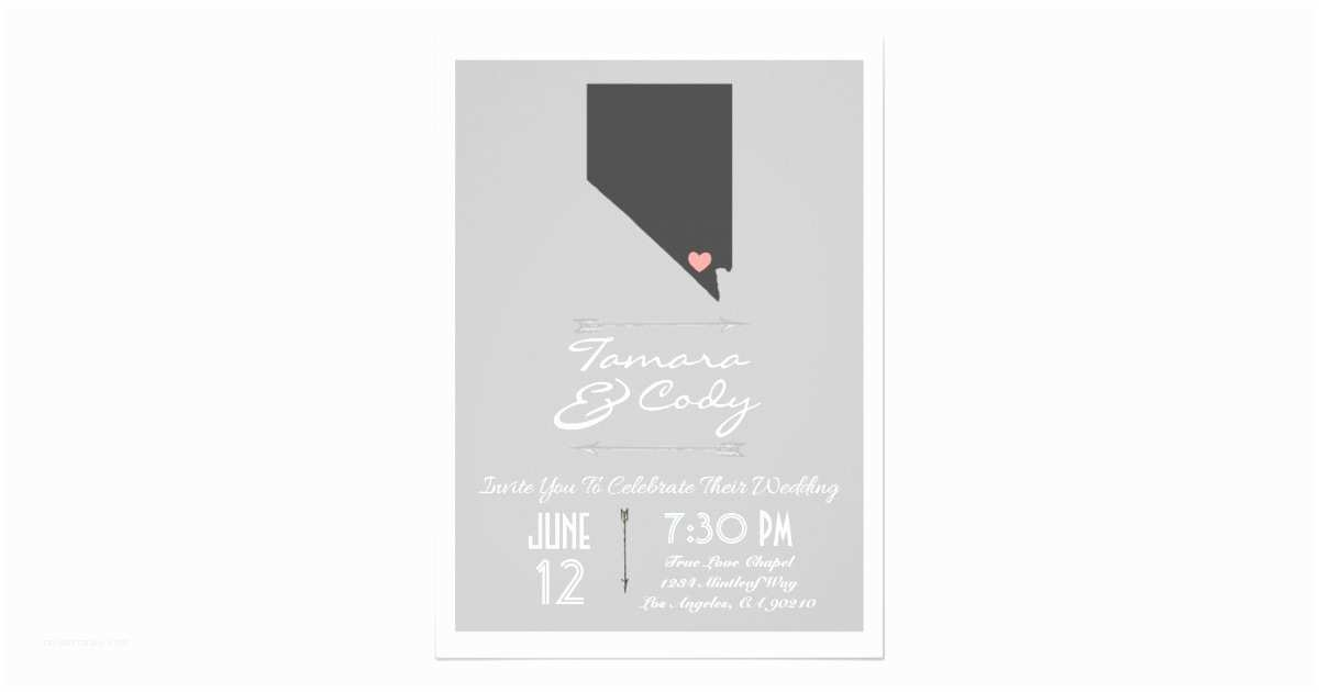 Wedding Invitations Las Vegas Nv Elegant Gray Las Vegas Nevada Wedding Invitation