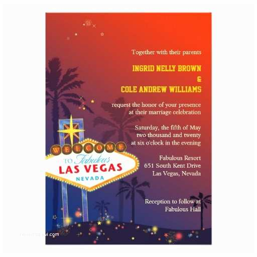 "Wedding Invitations Las Vegas Nv Las Vegas Nevada Destination Wedding Invitations 5"" X 7"