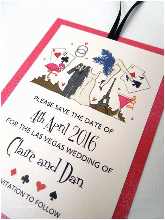 Wedding Invitations Las Vegas Nv Las Vegas Strip themed Save the Date Cards by Bunnydelicious