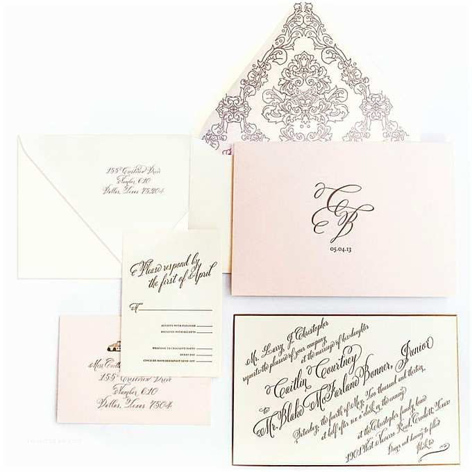 Wedding Invitations Nyc A formal Wedding Invitation with Calligraphy by Ceci New