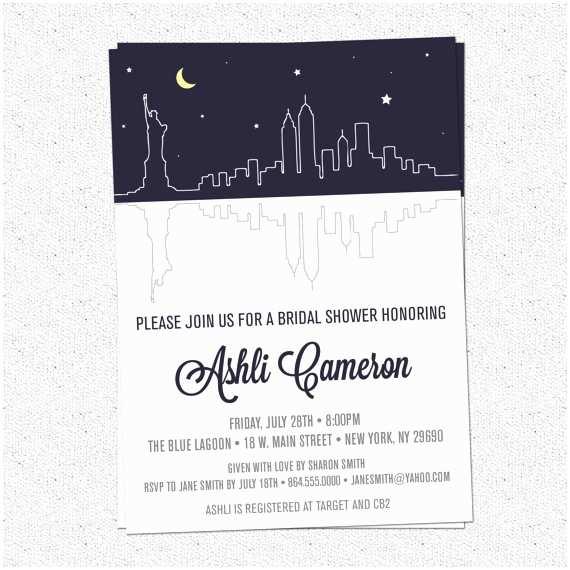 Wedding Invitations Nyc Bridal Shower Invitations Bridal Shower Invitations New