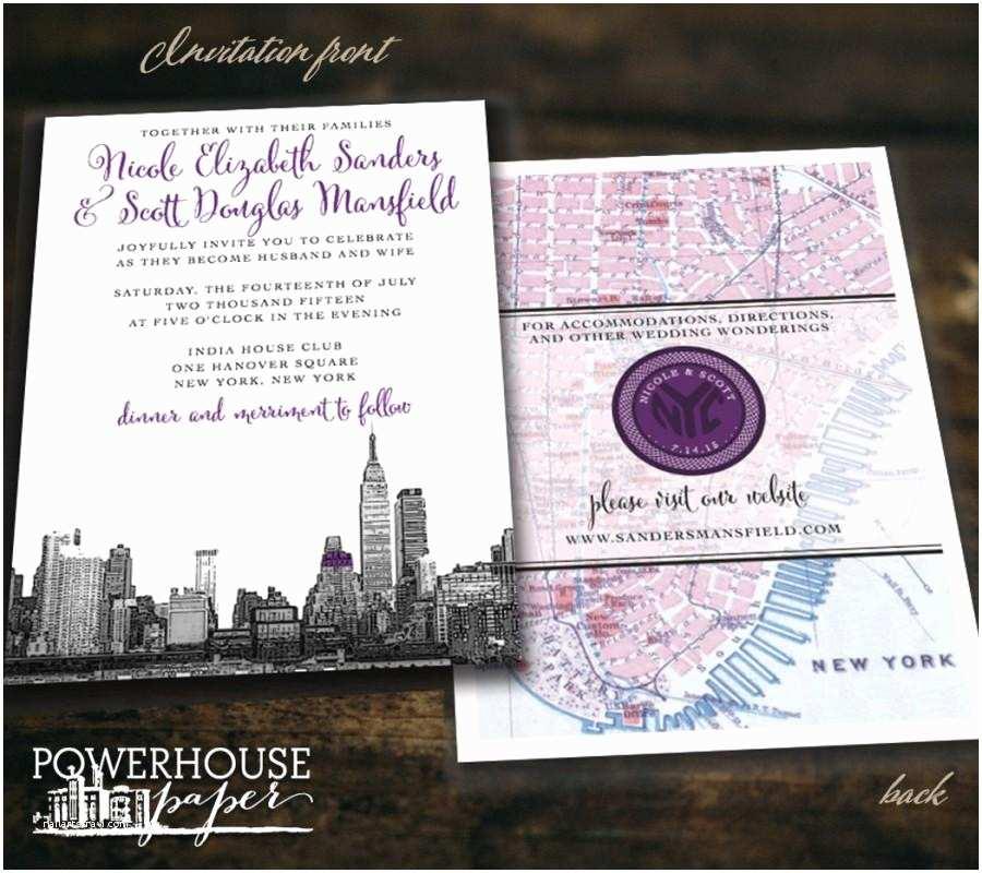 Wedding Invitations Nyc New York City Skyline and Map Wedding Invitation