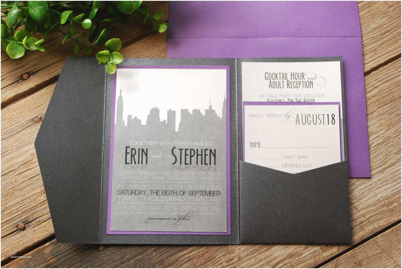 Wedding Invitations Nyc Wedding Invitation New York Skyline Purple and Black with