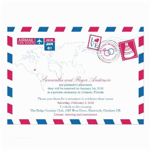 Wedding Invitations orlando Fl orlando Florida Airmail Post Wedding Reception 5x7 Paper