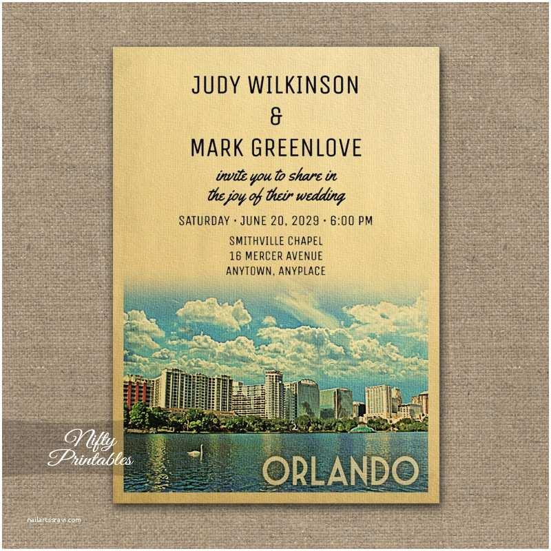Wedding Invitations orlando Fl orlando Florida Wedding Invitation Printed Nifty Printables