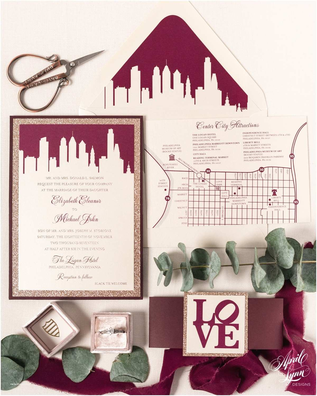 Wedding Invitations Philadelphia Liz Mike's Luxury Philadelphia themed Wedding Invitation