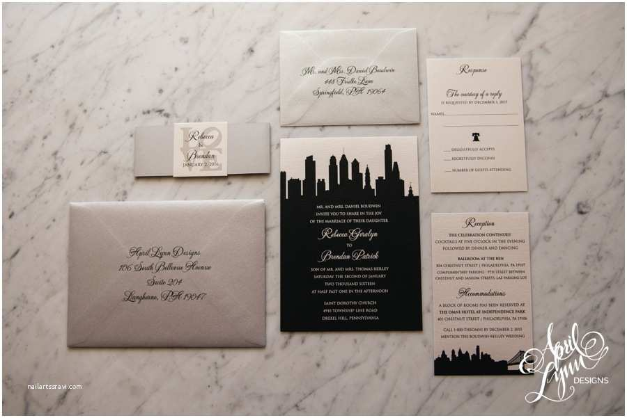 Wedding Invitations Philadelphia Rebecca Brendan's Philadelphia Skyline themed Wedding