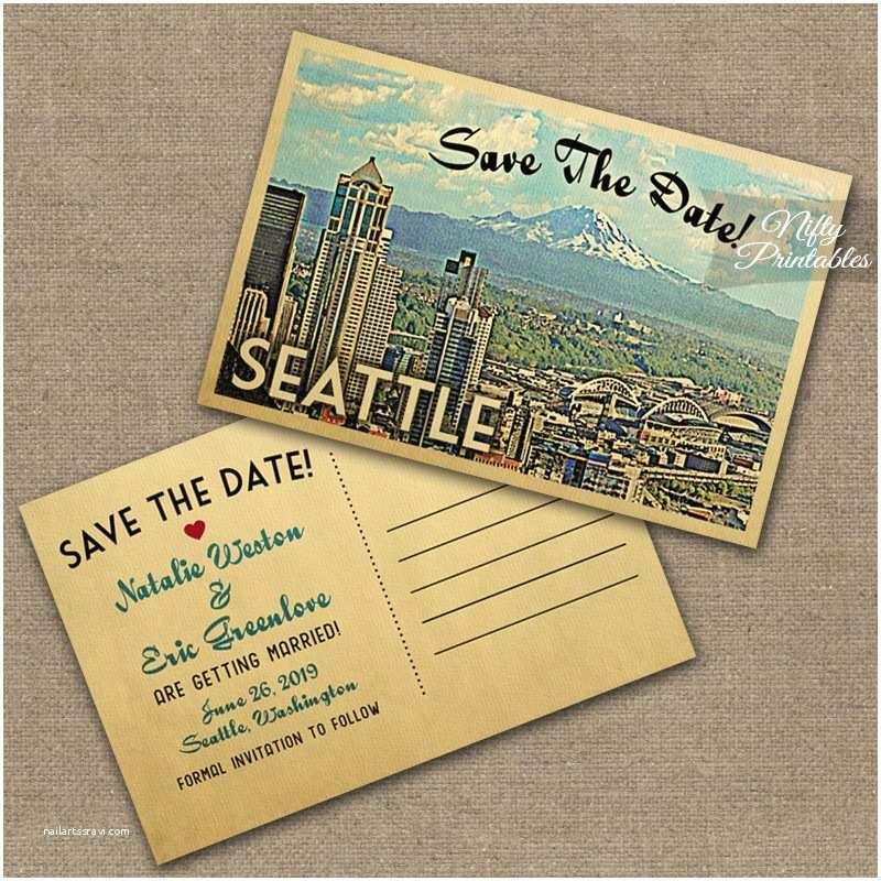 seattle skyline wedding invitations