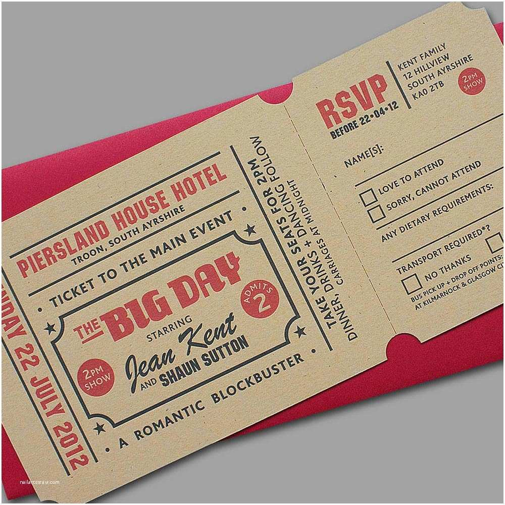 Wedding Invitations that Look Like Tickets 43 Unique Save the Date Ideas