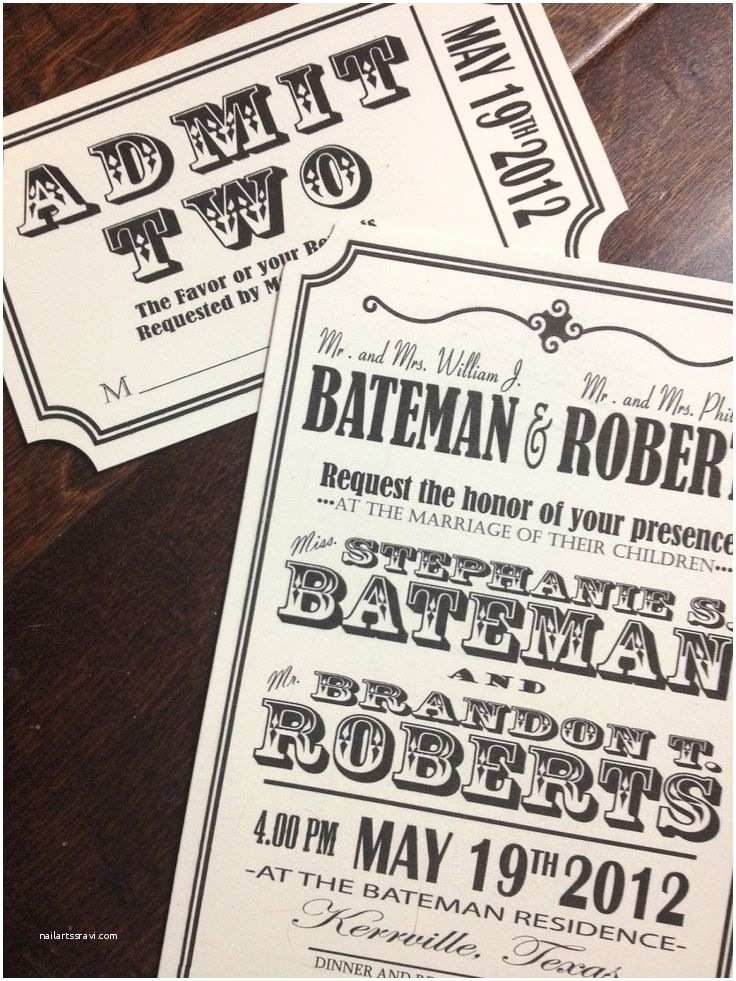 Wedding Invitations that Look Like Tickets 9 Best Images About Invites On Pinterest