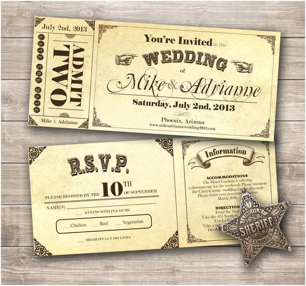 Wedding Invitations that Look Like Tickets Country Vintage Ticket Wedding Invitation Set by