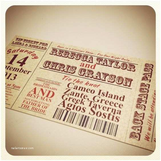Wedding Invitations that Look Like Tickets Invitations Wedding and Concerts On Pinterest