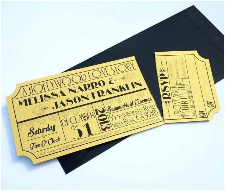 Wedding Invitations that Look Like Tickets Old Hollywood Art Deco Gold Movie Ticket by