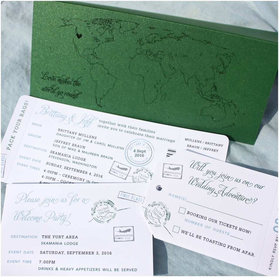 Wedding Invitations that Look Like Tickets Passport Stamps & World Map Airline Ticket Wedding