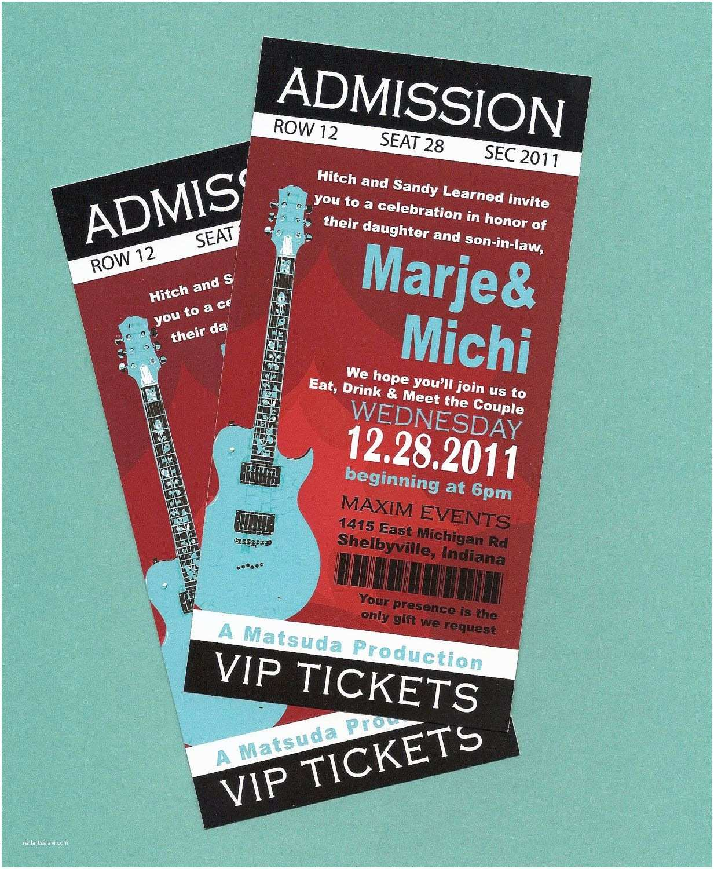 Wedding Invitations that Look Like Tickets Printable Diy Concert Rock N Roll Birthday Concert