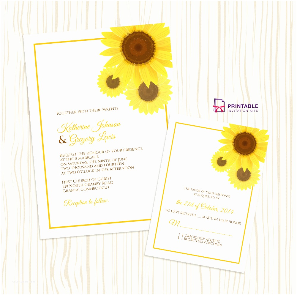 Wedding Invitations to Print at Home for Free Free Pdf Download Sunflower Wedding Invitation and Rsvp
