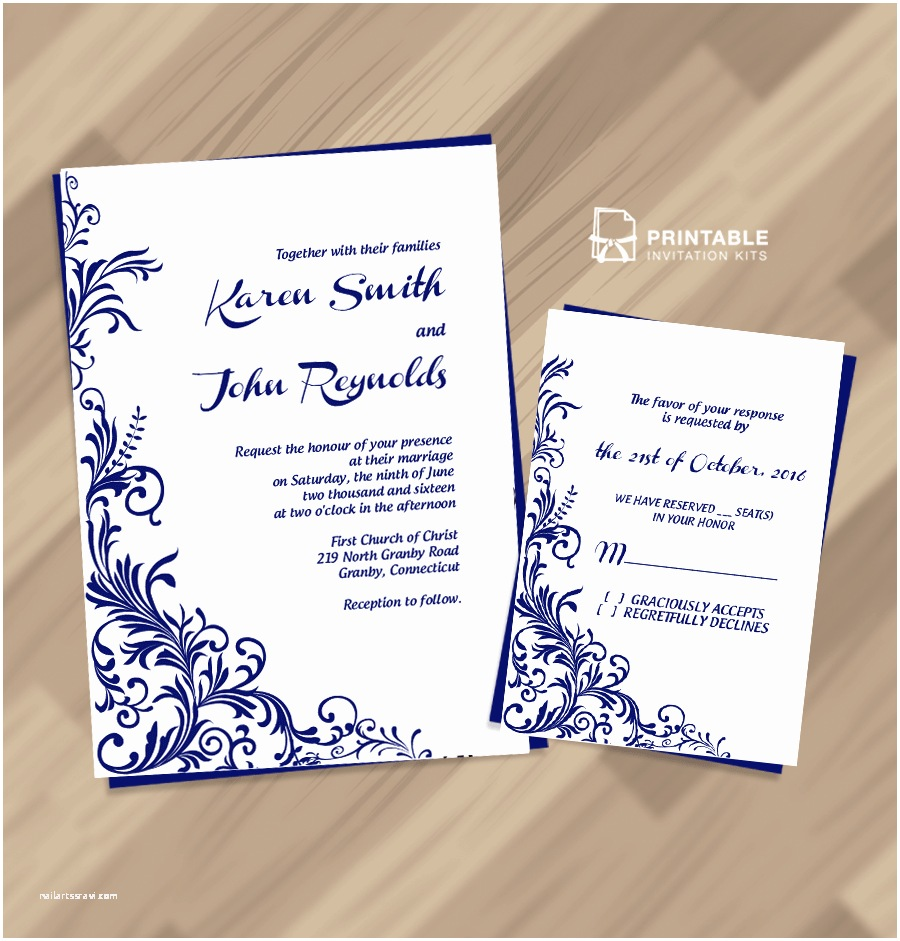 Wedding Invitations To Print At Home For Free Free Pdf Wedding Invitation Download Foliage