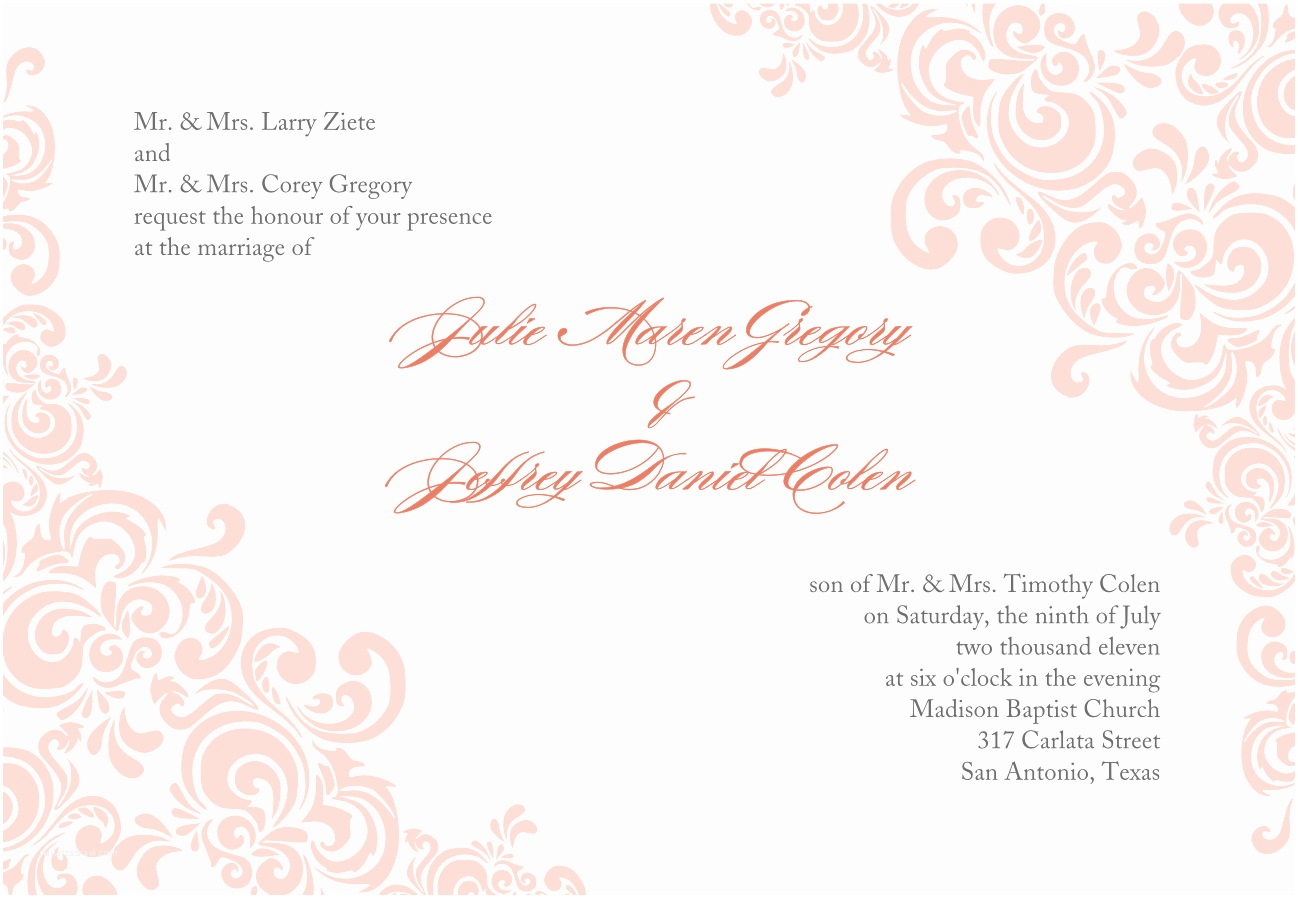 Wedding Invitations To Print At Home For Free Printable Wedding Invites Templates