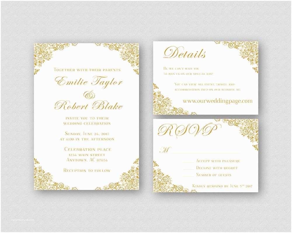 Wedding Invitations to Print at Home for Free Wedding Invitations Gold Wedding Invitation Suite Elegant