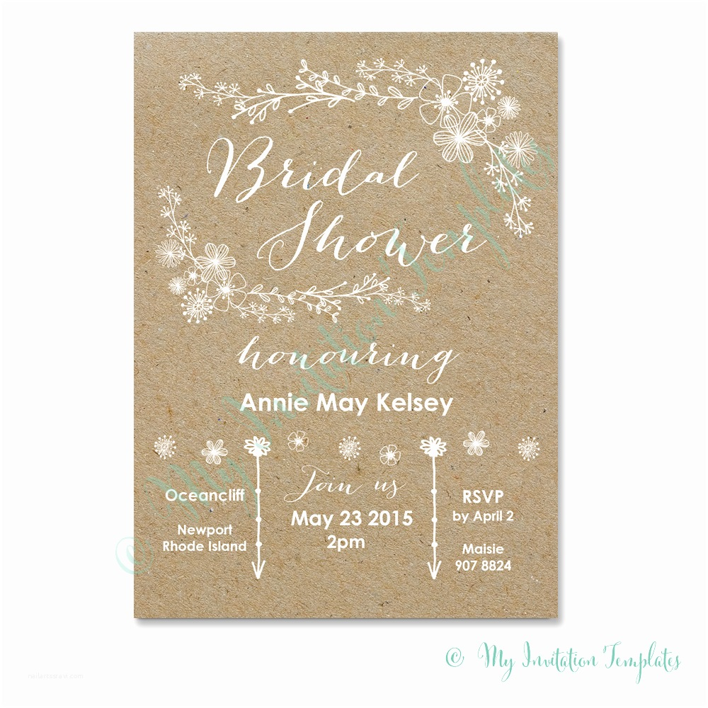 Wedding Invitations To Print At Home For Free Whimsical Rustic Bridal Shower Invitation