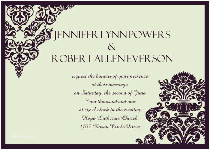Wedding Invitations Tuxedo Affordable formal Damask Wedding Invites Ewi289 as Low as