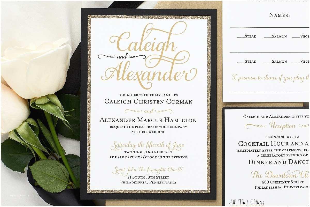 Wedding Invitations Tuxedo Caleigh formal Wedding Invitation with Glitter