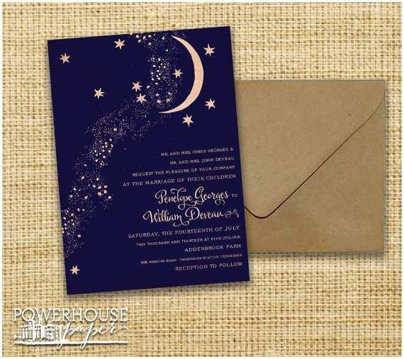 Wedding Invitations Under $1 Rustic Kraft Moon & Stars Wedding Invitation by