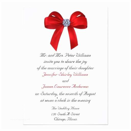 Wedding Invitations with Bows Bows and Diamonds Wedding Invitation 13 Cm X 18 Cm