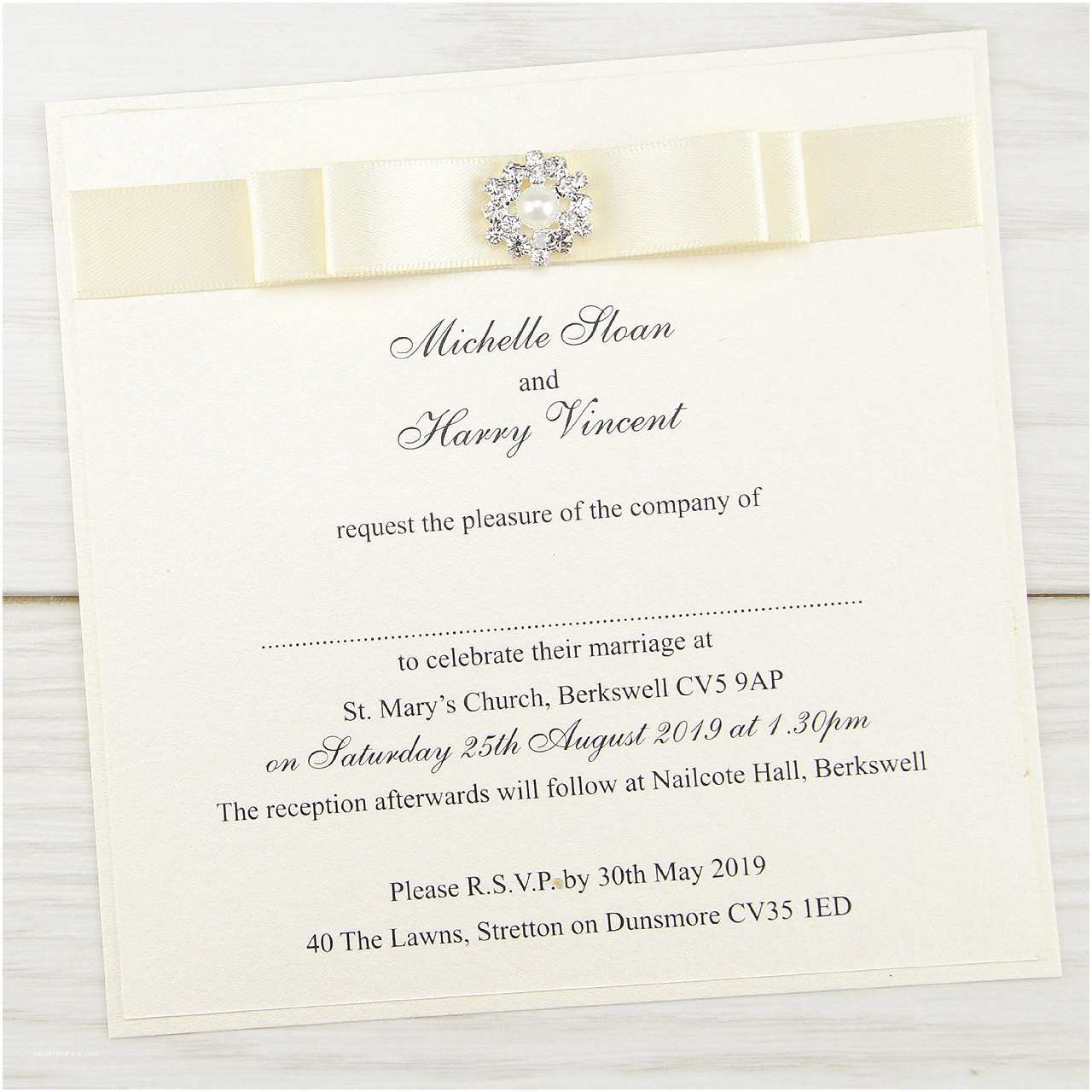 Wedding Invitations with Bows Dior Bow Layered Square
