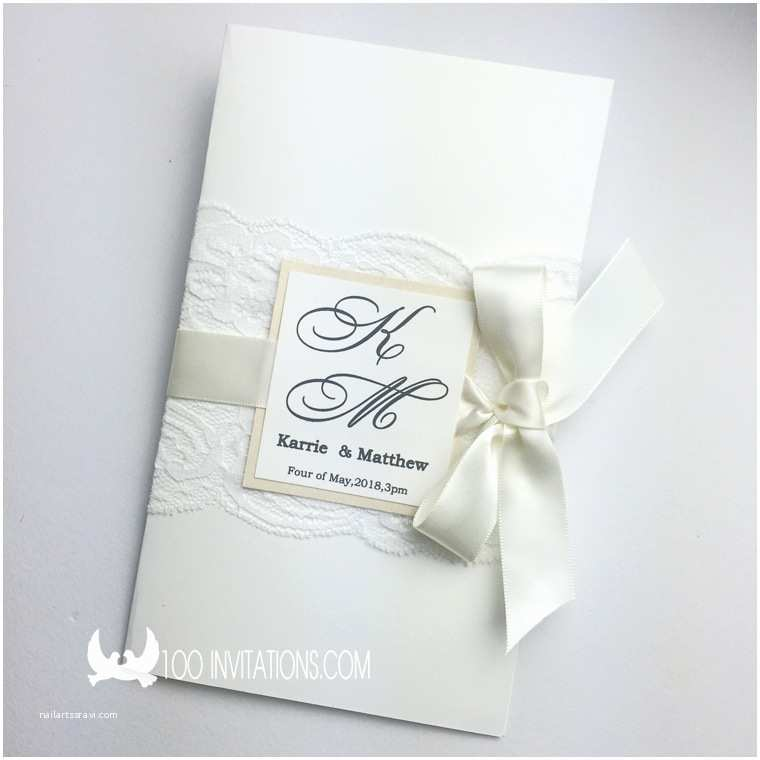 Wedding Invitations with Bows Lace Wedding Invitations Free Shipping