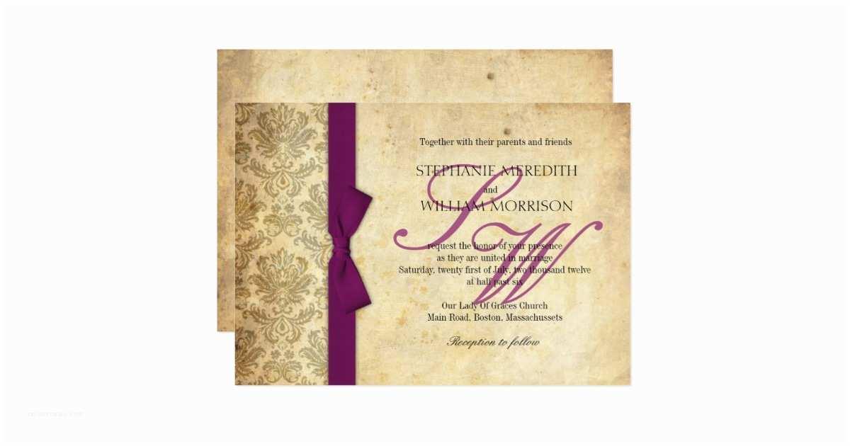 Wedding Invitations with Bows Plum Damask Vintage Bow Wedding Invitation