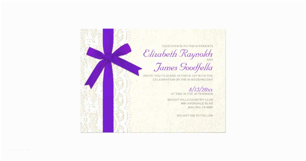 Wedding Invitations with Bows Purple Bow & Lace Wedding Invitations