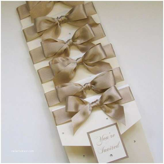 Wedding Invitations with Bows Wedding Invitation with Satin Ribbon Bow by