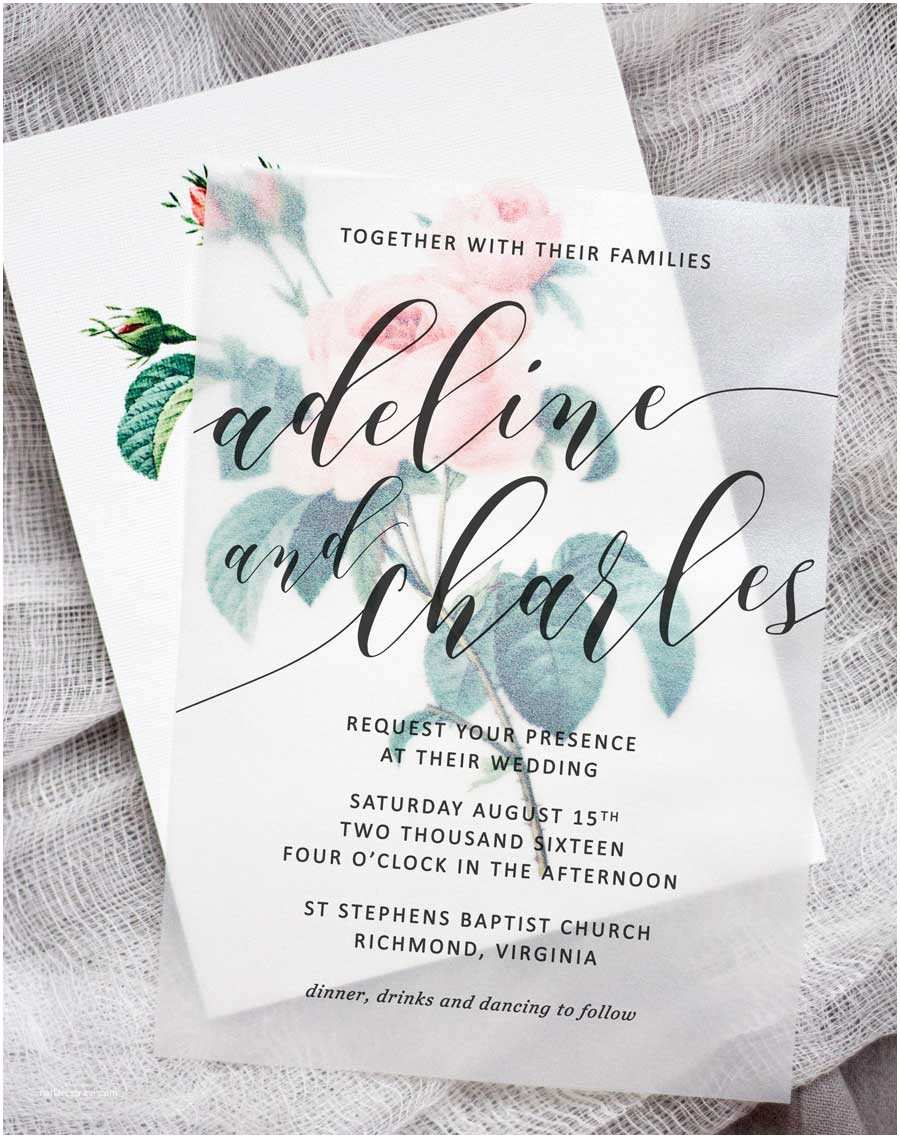 Wedding Invitations with Clear Overlay Diy Floral Wedding Invitations