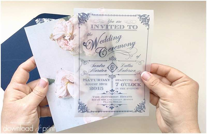 Wedding Invitations with Clear Overlay Diy Translucent Wedding Invitation with Vintage Charm