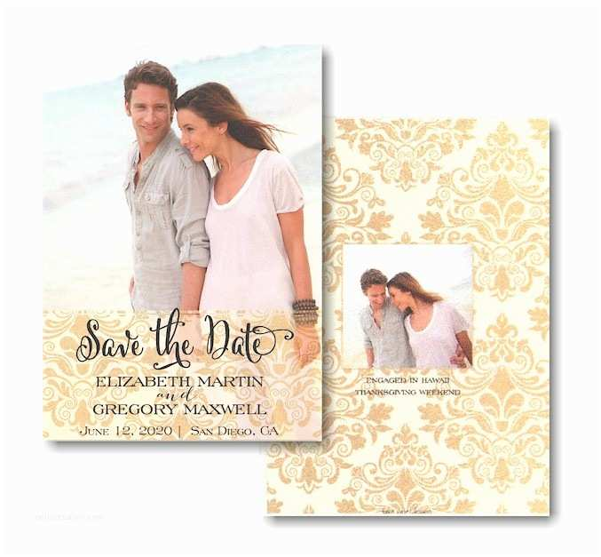 Wedding Invitations with Clear Overlay Gold Damask Transparent Overlay Save the Date Card