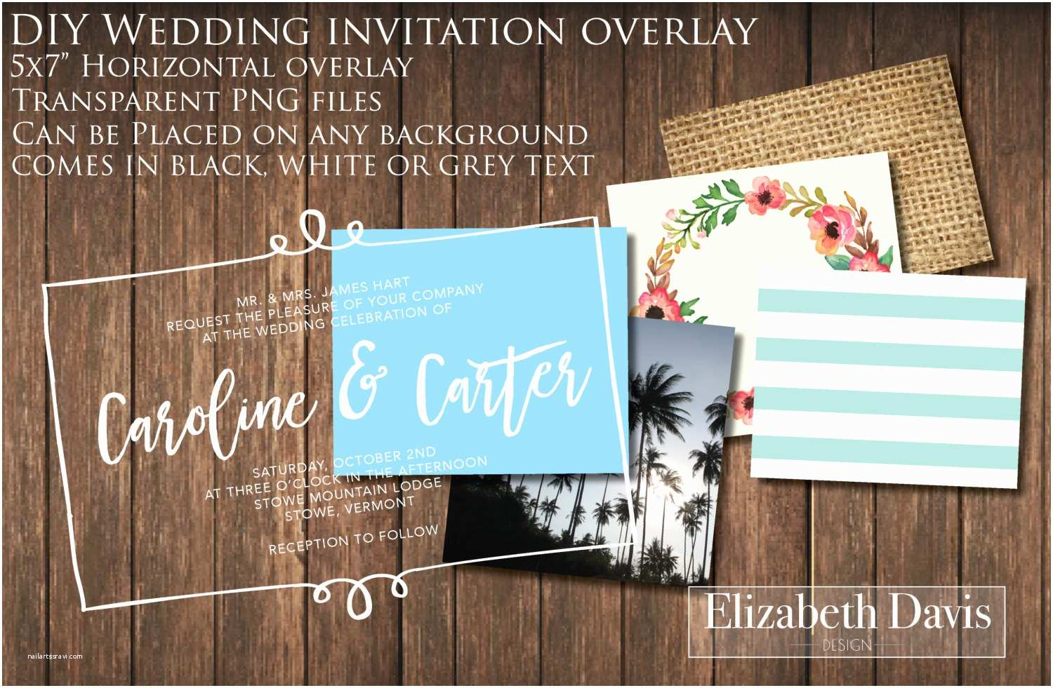 Wedding Invitations with Clear Overlay Printable Diy 5x7 Horizontal Wedding Invitation Overlay