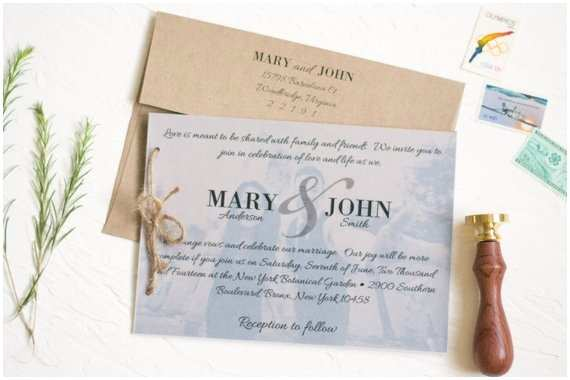 Wedding Invitations with Clear Overlay Rustic Kraft Paper Wedding Invitation Set with Vellum Overlay