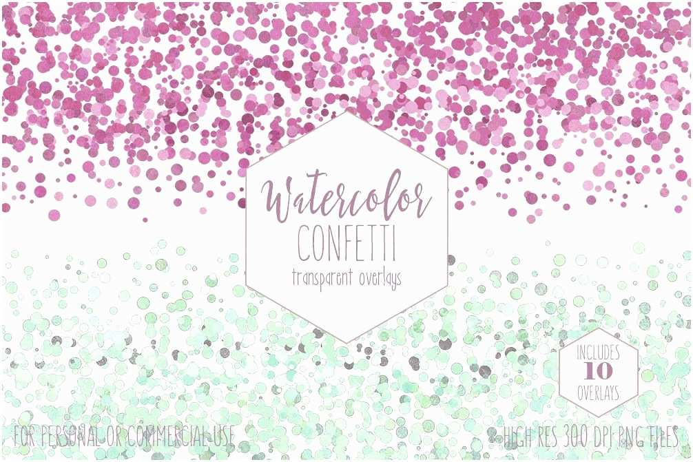 Wedding Invitations with Clear Overlay Watercolor Confetti Border Clipart M