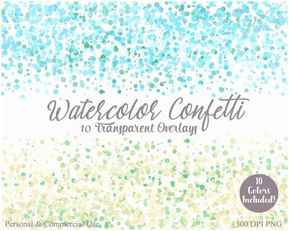 Wedding Invitations with Clear Overlay Watercolor Confetti Border Clipart Mercial Use Clip Art 10