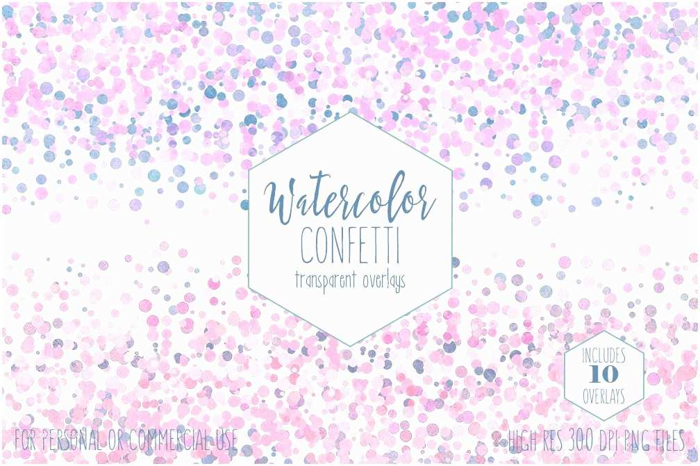 Wedding Invitations with Clear Overlay Watercolor Confetti Border Clipart Mercial Use Clip Art