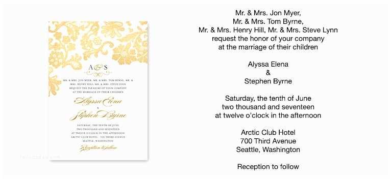 Wedding Invitations with Parents Names Parents Names Wedding Invitation