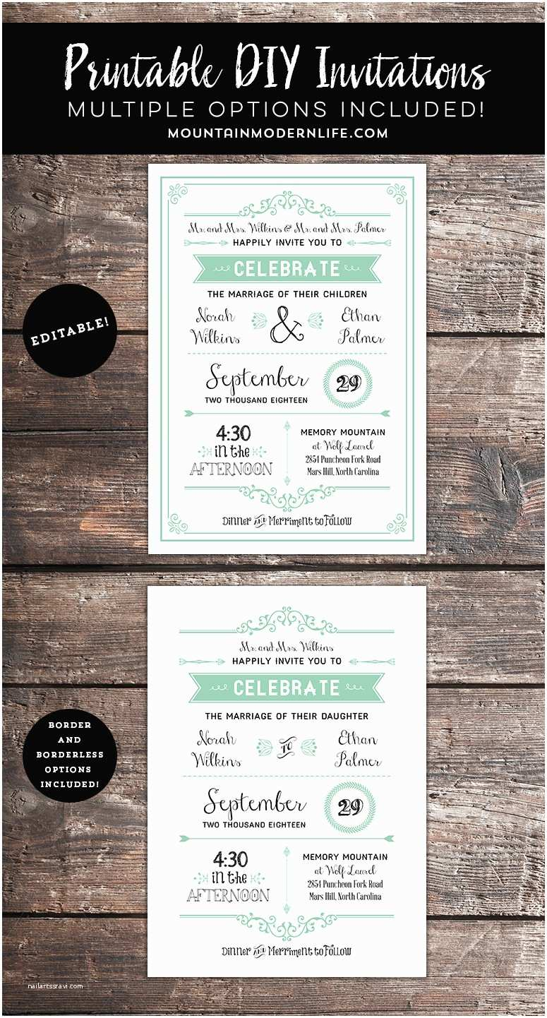 Wedding Invitations with Parents Names Rustic Mint Diy Wedding Invitation with Parent S Names